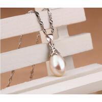 项链 银饰  配饰 925银珍珠项链短款单颗日本韩国小珍珠吊坠送姐妹送妈妈
