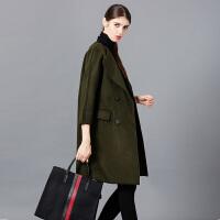�莱毛呢外套女中长款2016秋冬新款女装韩版修身显瘦加厚茧型呢子大衣