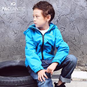 派克兰帝2017秋装儿童户外防水外套 男女童拼接冲锋衣中大童长袖