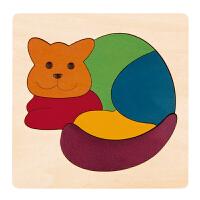 德国HapeE6500创意拼图-彩虹猫儿童早教木质拼图玩具