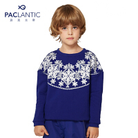 派克兰帝 儿童卫衣秋冬外套 女童雪花印花套头卫衣