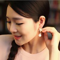 耳钉 女 花朵 韩版 气质花朵 无耳洞 耳夹 时尚 个性 假耳钉 长款 珍珠 耳环 女 礼品