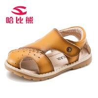 哈比熊男童凉鞋学步鞋宝宝2017夏季韩版新款儿童包头凉鞋沙滩鞋