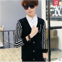 韩版潮流长袖上衣非主流男装青少年衬衣假两件衬衫衣服男马甲