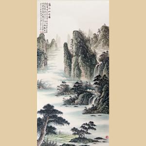 《漓江山水图》王明善(观云)世界名人文化村村长,中华两岸书画家协会主席