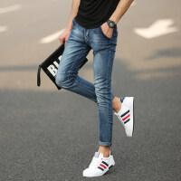 男士薄款牛仔裤子青少年修身微弹力小脚长裤高中学生牛仔裤