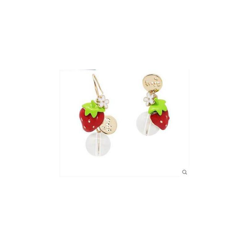 韩版甜美可爱草莓耳钉 简约气质耳夹 女 百搭耳坠耳饰品