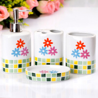 欧式陶瓷卫浴洗漱用品套装 浴室卫浴四件套绿色