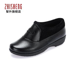 春秋季妈妈鞋单鞋皮鞋奶奶软底加棉防滑中老年老人平跟大码女鞋