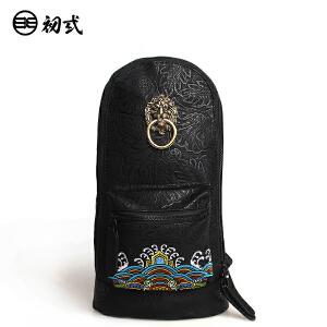初�q中国风潮牌刺绣印花狮子头男女休闲骑行死飞机车胸包43012