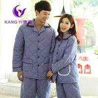 冬季加厚夹棉情侣睡衣家居服 波点可外穿三层加厚夹棉保暖 男女士家居服睡衣