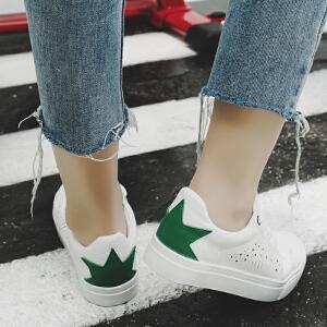 2017春季新款小白鞋软面皮休闲鞋厚底系带板鞋学生球鞋