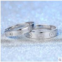 简单大气坚固厚实结婚定款戒指 简约气质随性S925纯银情侣对戒