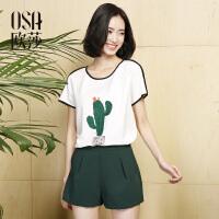 OSA欧莎2017夏装新款真两件套印花T恤+休闲短裤  套装S117B15011