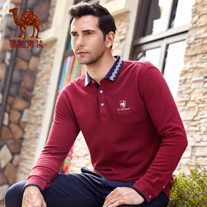 骆驼男装 秋季新款商务绅士衬衫领绣标商务休闲长袖T恤衫男T