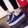 2017春季新款套脚帆布鞋卡通休闲板鞋韩版一脚蹬懒人鞋厚底松糕单鞋女学生布鞋