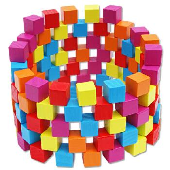 100粒彩色正方体积木木制儿童益智玩具立方体方木块数学教具
