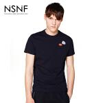 NSNF纯棉手绘装饰刺绣黑色短袖T恤 2017年春夏新款