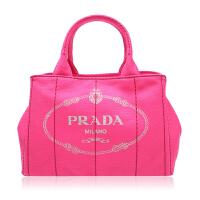 Prada/普拉达牡丹粉帆布材质经典logo提花包身女士手提单肩两用包