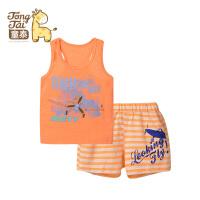 童泰 迪士尼系列1-3岁男宝宝儿童纯棉背心短裤套装夏 外出套装