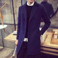 秋冬男装加厚长款呢大衣外套韩版修身纯色风衣青年时尚加绒保暖外套