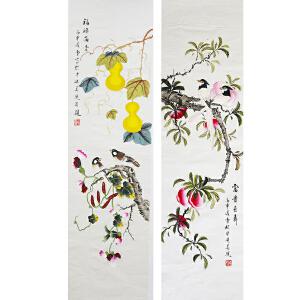 精品  著名工笔画画家  凌雪《花鸟四条屏》
