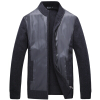 伯思凯2015秋季男士羊毛开衫纯色中年毛衣立领拼接羊毛衫针织外套