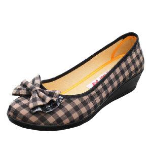 欣清 春季新款浅口老北京休闲女式中跟帆布女鞋低帮坡跟单鞋