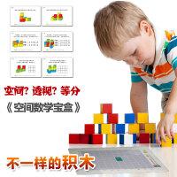 积木100粒木制大块积木玩具 配拼图宝宝儿童玩具 空间数学宝盒 货到付款 瞬间记忆100粒积木幼儿园圆点点卡小学一年级