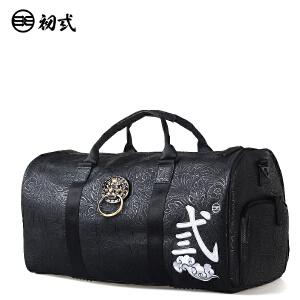 初�q中国风潮牌男女压纹印花狮子头旅行手提单肩斜跨背包袋42003