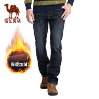 骆驼男装 秋季新款时尚长裤子商务休闲加绒加厚黑蓝牛仔裤男