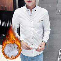 男士牛津纺加绒保暖衬衫冬装加厚纯色衬衣韩版长袖衬衫男