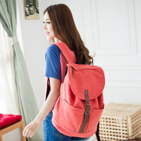 吉野新款韩版双肩背包高中大学生书包学院双肩包潮女式旅行包电脑背包女包水桶包休闲帆布包包6080