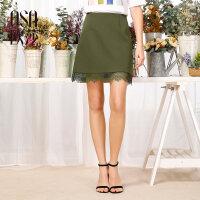 欧莎夏装女2017夏装新款女装 简约百搭时尚A字半身裙B51022