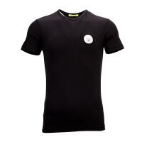 VERSACE JEANS黑色混合材质logo徽章装饰男士短袖T恤