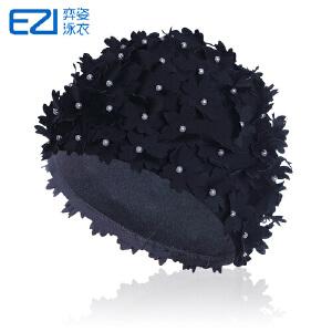2016弈姿EZI新款女式花朵镂空泳帽 时尚个性 防晒游泳帽20075