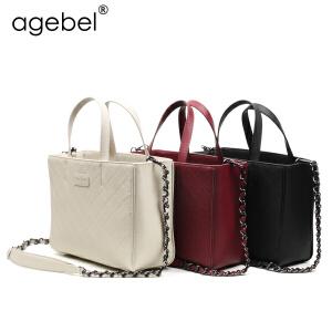 艾吉贝2017新款牛皮菱格链条包小香风手提包包气质时尚手拎包女包