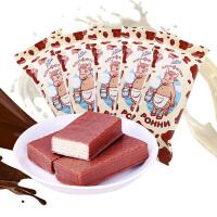 俄罗斯进口康吉POHHN小牛大奶牛巧克力夹心威化饼干500g 15袋散装特价