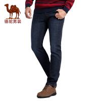 骆驼男装 秋季新款商务绅士黑篮色商务休闲牛仔裤长裤子 男