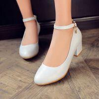 【支持礼品卡支付】女鞋单鞋韩版粗跟中跟舒适工作鞋尖头OL百搭高跟鞋