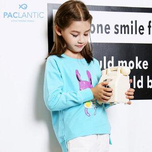 派克兰帝童装2017秋季女童装新品童休闲卫衣针织圆领套头卫衣