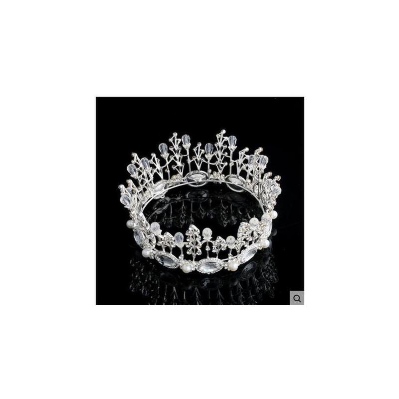 韩式大号圆形皇冠水钻结婚发饰 盘发时尚配王冠新娘头饰 饰品