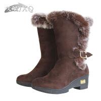 XQ/欣清冬季女高跟中筒靴 雪地靴 休闲女士靴子冬款时尚女靴