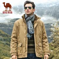骆驼男装 冬季棉服 男士基础大众加厚棉衣风衣系列外套 男