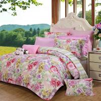 富安娜家纺圣之花全棉四件套纯棉套件1.5m床双人床单被套1.8m锦瑟花韵