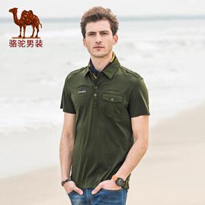 骆驼男装 夏季修编棉质字母青春活力衬衫领短袖t恤
