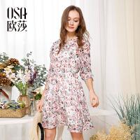 欧莎夏装女2017夏装新款女装气质荷叶边碎花七分袖连衣裙B13047