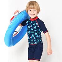 弈姿EZI儿童学生防晒游泳衣男童宝宝分体中袖冲浪服中大童 16082