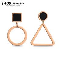 T400几何不对称耳环韩国气质性感个性三角形圆圈耳坠AB款简约百搭耳饰 20003