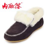内联升女棉鞋平底牛绒羊毛休闲鞋秋冬新款时尚保暖棉鞋老北京布鞋4670C